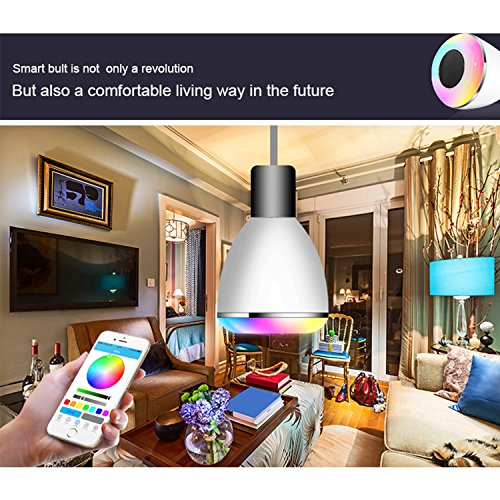 Music Smart Bulb E27/B22 LED RGB Light Wireless Music LED Lamp Bluetooth Speaker APP Control Android IOS Smartphone for Kitchen Bathroom Dining - Timings Mall Great