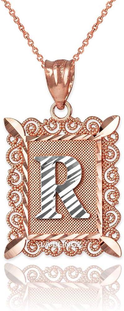 LA BLINGZ 14K Rose Gold Filigree Alphabet Initial Letter R DC Pendant Necklace