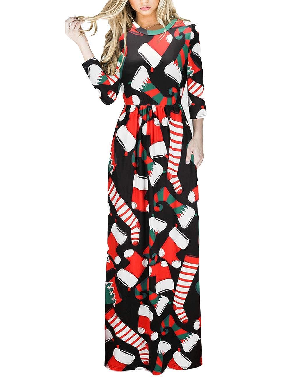 TALLA S=ES 36-38. FeelinGirl Mujeres Vestido Largo Estampado Floral de Fiesta Navidad Falda Maxi de Manga Larga Nochebuena Multicolor-03 S=ES 36-38