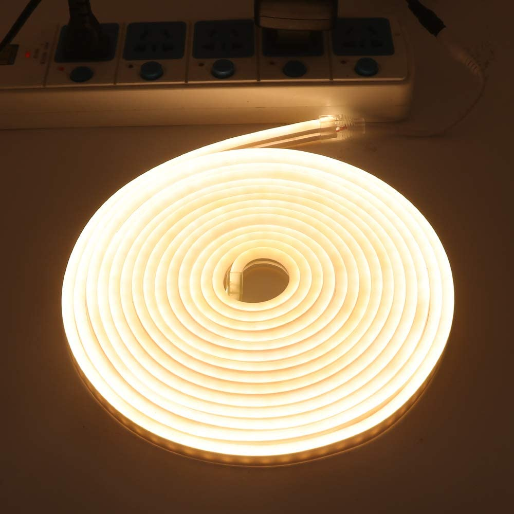 XUNATA LED Strip Lights, LED Neon Light Rope,3500K Warm White Outdoor Flexible Light, DC 12V 16.4 Ft/5m 2835 600 LEDs Silicone Tape Light for Home, Indoors, Outdoors Decor DIY