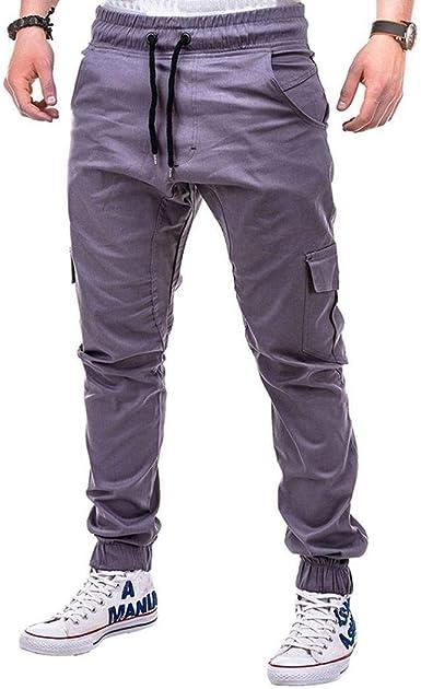 Crystallly Moda Para Hombre Puro Vendaje Del Deportes Color Pantalones Sueltos Estilo Simple Con Cordon Pantalon Hombres Ocio Multi Bolsillo Movimiento Pantalones Amazon Es Ropa Y Accesorios