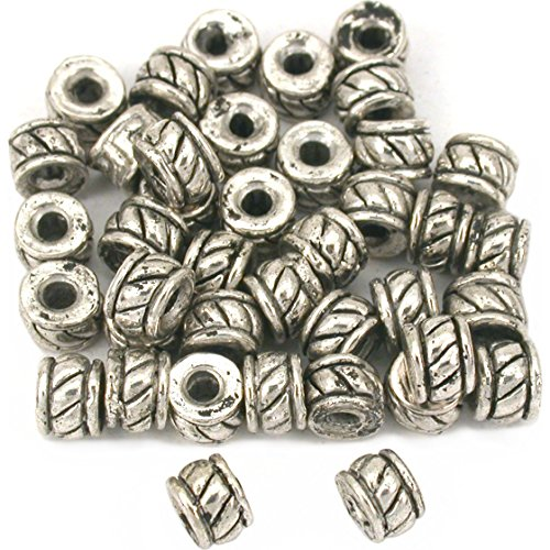 Beads Silver Plt Beading (Bali Rondelle Spacer Bead Antq Silver Plt 5mm Approx 40)