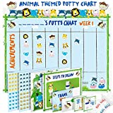 Potty Training Chart for Toddlers - Fun Animal Design - Reward Your Child - Sticker Chart, 4 Week Reward Chart, Certificate, Instruction Booklet and More - for Boys and Girls