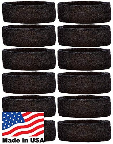 Unique Sports Team Headbands (12 Pack), Black, One Size