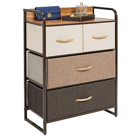 mDesign Cómoda para dormitorio con 4 cajones – Mueble con cajones ancho para el salón, la habitación o el pasillo – Cajonera de metal, MDF y tela para ...