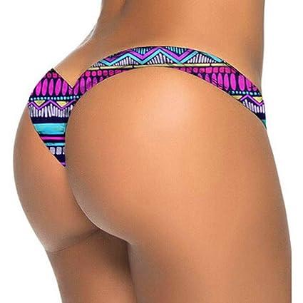 dfcaacf7e472f Fimkaul Sexy Swimwear Women's Brazilian Cheeky Bikini Itsy V Bottom Thong  Swimsuit (S, Graffiti