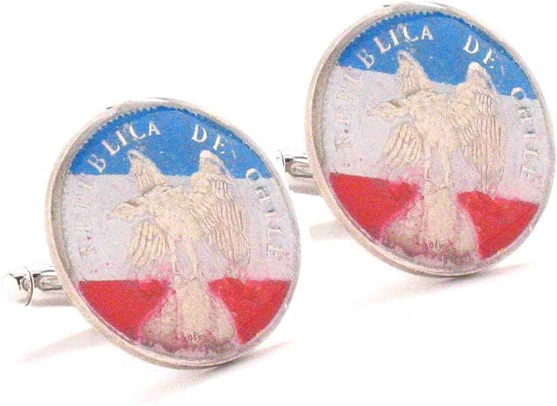 Chile Cufflinks Cuff Links Coins Flag Vintage Style Santiago Concepcion Bandera Gemelos Mancuernillos