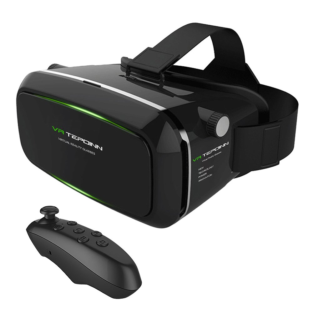 VR Headset TEPOINN Virtual Reality Headset for iPhoneX/8/8plus/7/7plus/6/6plus/6s/5, Samsung, LG & All Android Smartphone With Magnetic Front Cover, Adjust Strap & With Remote Controlle