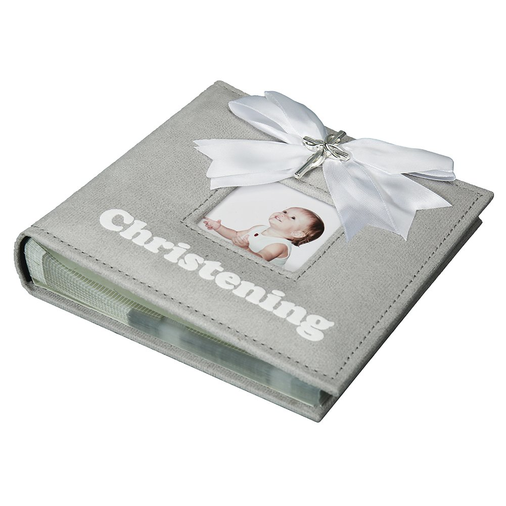 Modali Baby Christening Baby & Children Elegant Photo Album with Ribbon and Beautiful Silver Cross 80 Pictures 4x6''