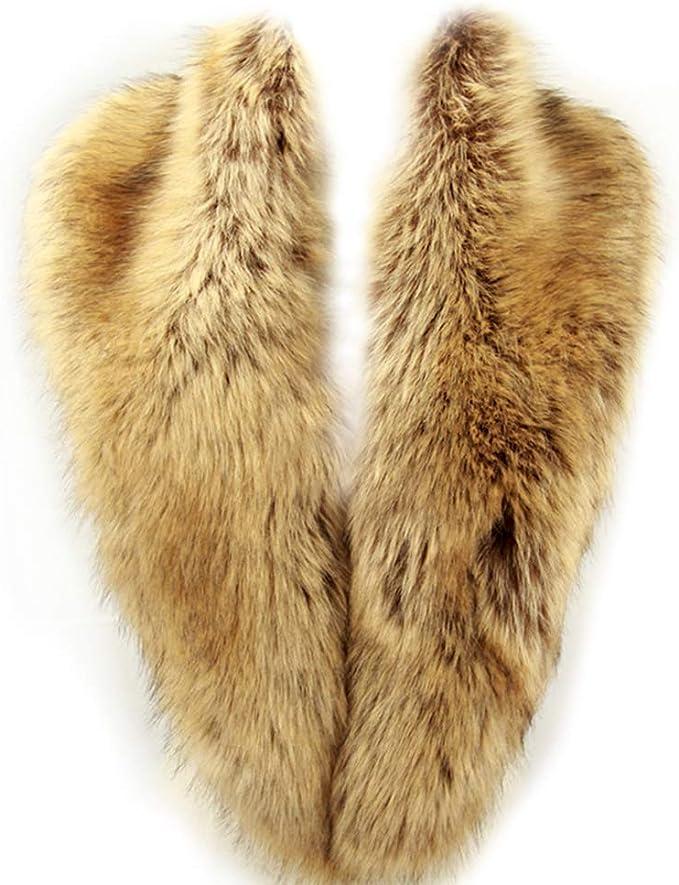 Dikoaina Extra Large Women's Faux Fur Collar for Winter Coat (100cm, Raccoon)