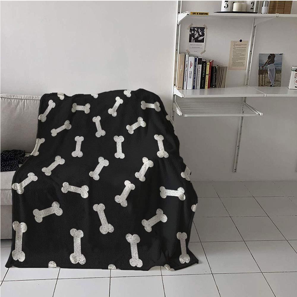 Suchashome Dog Bone Fabric The Yard Convenience Blanket,Simplistic Doodle Dog Food Bone Background Canine Animal Care Theme,Lightweight E x tra Big,Warm All Season Blanket for 54'' x 72''
