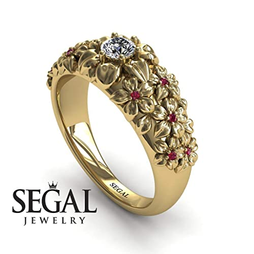 a7cbb3d22 Image Unavailable. Image not available for. Color: Unique Engagement Ring  Diamond ring 14K Yellow Gold Flowers Vintage Antique Ring White diamond  With Ruby