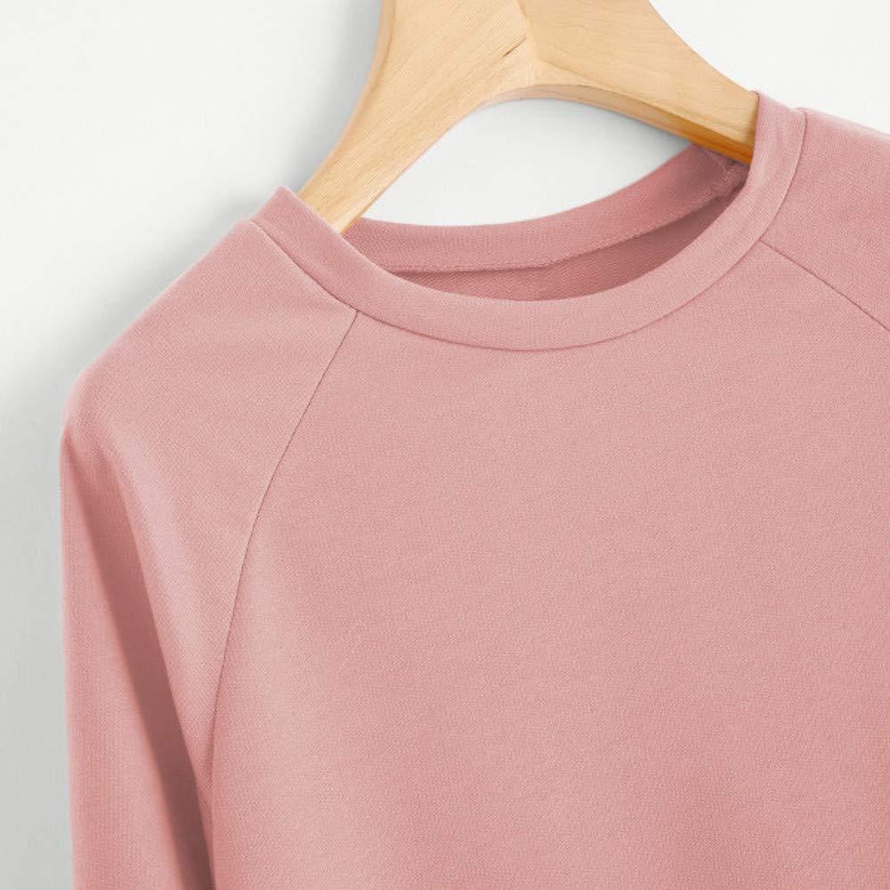 VJGOAL Moda para Mujer Casual de Manga Larga Letra impresi/ón de Color s/ólido Sudadera con Cuello en O Pullover Blusa Tops
