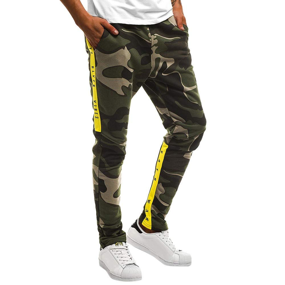 ZZpioneer Mens Closed Bottom Sweatpants Zipper Pockets Drawstring Camo Casual Straight Sports Trousers