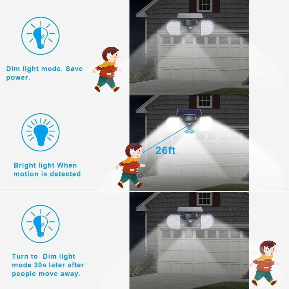 DGEMOC LED Solar Lights Outdoor, 56 LED 6000K Cool White Light Wireless Waterproof Security Solar Motion Sensor Lights for Yard Garden Garage Patio Porch