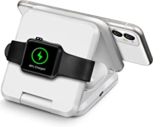 Qi Wireless Charger, 3 in 1 Portable Foldable Wireless Charging Station Dock Designed for Apple Watch, Wireless Airpods, iPhone 12 11 11 pro 11 Pro Max Xs X Max XR X 8 8 Plus with 30W PD Charger