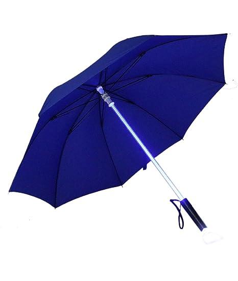 7-Color LED Paraguas Golf con Linterna y en el eje de colores (Azul