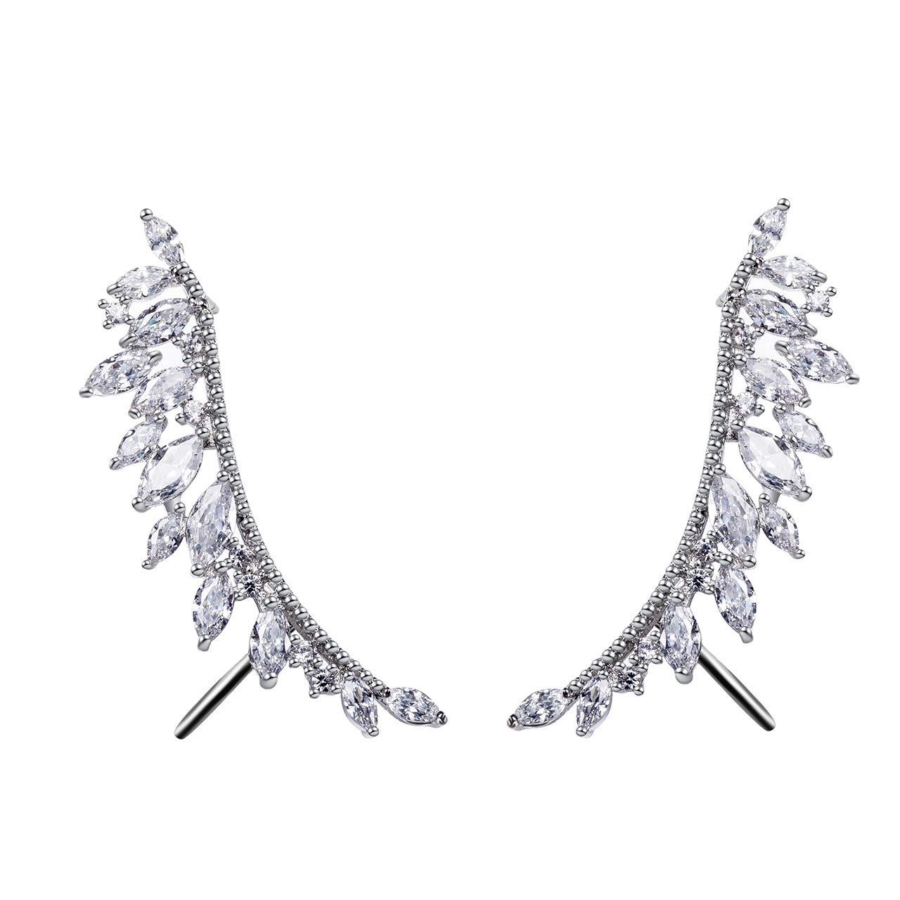 Flowetry Crystal Cuffs Wraps Earrings White Gold-plated Crystal Embellished Leaves Earrings
