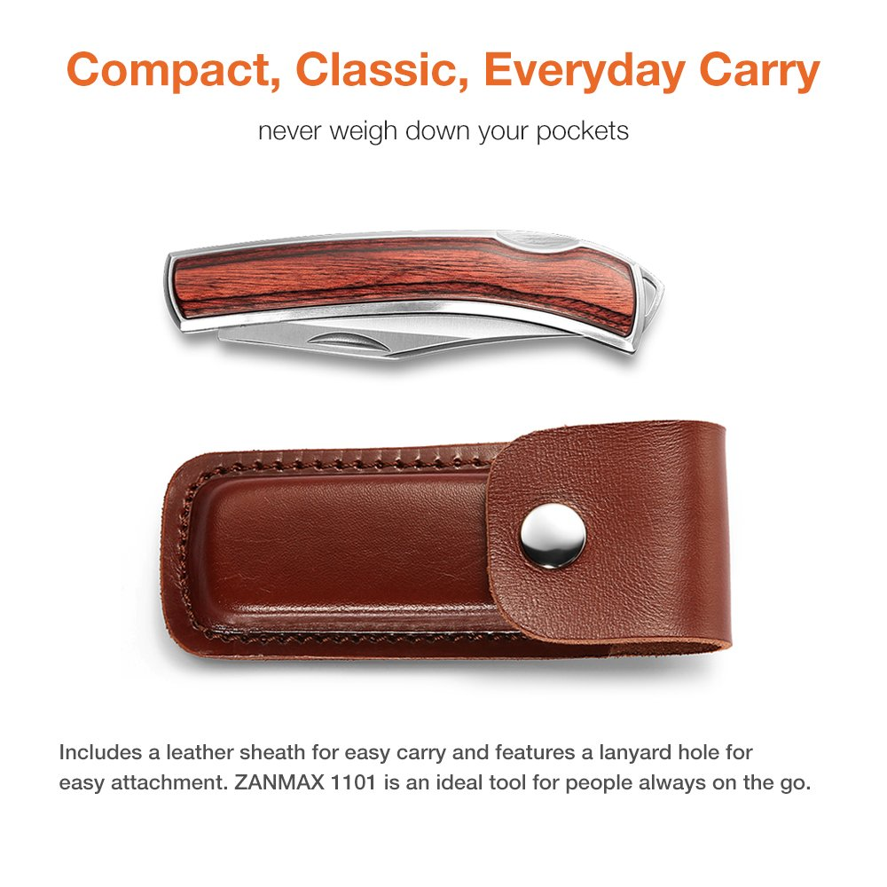 Z ZANMAX Folding Knife, 440C Stainless Pocket Knife Wood Handle Outdoor Camping Survival Hunting Knife Blade with Genuine Leather Sheath, Lockback Folding Knife, 3.5-Inch, Gift for Him by Z ZANMAX (Image #3)