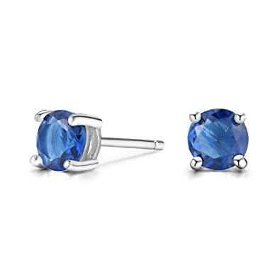 cb0bab1ff Women 6MM Sterling Silver Created Blue Sapphire Stud Earrings … (Round)