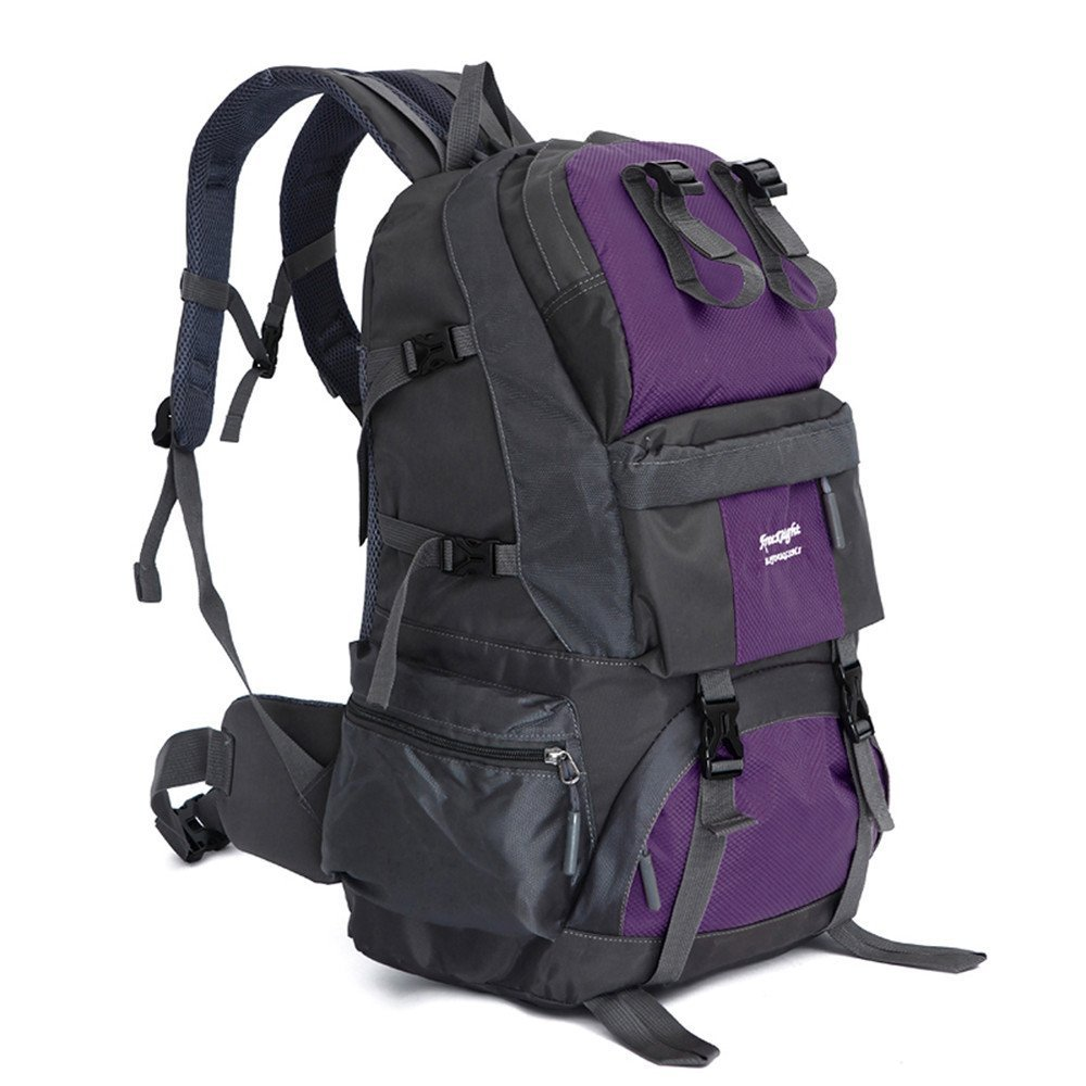 TechCode Multi-Function Pockets, Nylon 50L Large Capacity Internal Frame Backpack Bicycle Sports High-Performance Backpack Waterproof Trekking Mountaineering Bag for Hiking, Camping, Travel(Purple)