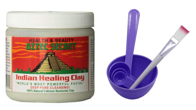 Aztec Secret Indian Healing Clay & 4 in 1 Cosmetic DIY Facial Mask Bowl Brush Stick Measure Spoon (1 Lb, Purple)