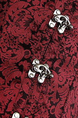 Steampunk Steel Gothic Women's Waist Charmian Corset Cincher Rosso Boned Brocade Vest q7aZnwU