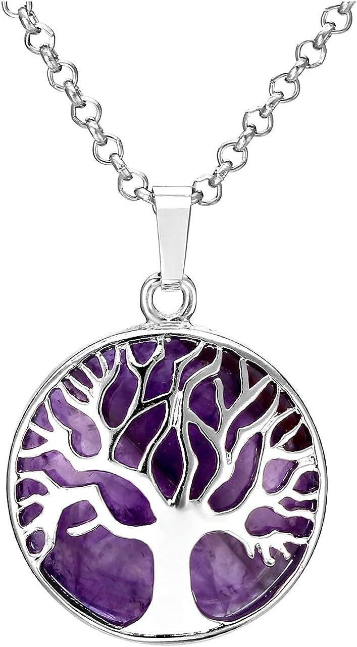 Jovivi - Collar con colgante de plata con diseño de árbol de la vida, con amatista, cuarzo rosa y cristal transparente, piedras preciosas de curación de chakras, colgante de Reiki