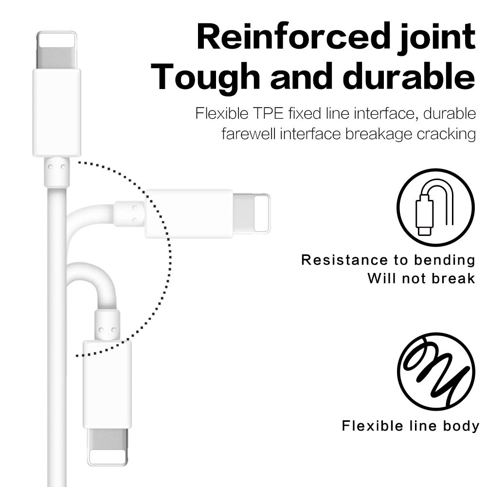 OUMONG Phone Charger 3Pack White 6FT Charge Cable USB Charging and Syncing Cord Charging Cable Compatible with Phone//Pod//Pad Air Pro and More
