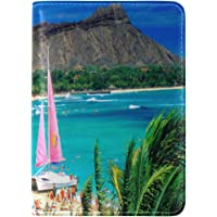 Beautiful Hawaiian Islands Print Abstract PU Leather Passport Holder Cover Case Travel