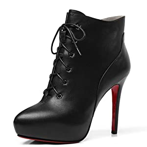 Nine Seven Genuine Leather Women's Pointy Toe Sexy Stiletto High Heel Platform Lace Up Handmade Ankle Boot (7, black)
