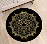 LB Round Rug with Gold Medallion Black Background Pattern Printed, Non Skip Home Decorative Rug Mat for Living Room Bedroom Study Kitchen, 2 ft