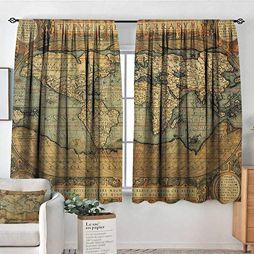 "Mozenou World Map Patterned Drape for Glass Door Ancient Old Chart Vintage Reproduction of 16th Century Atlas Print Waterproof Window Curtain 55"" W x 39"" L Sand Brown Slate Blue"