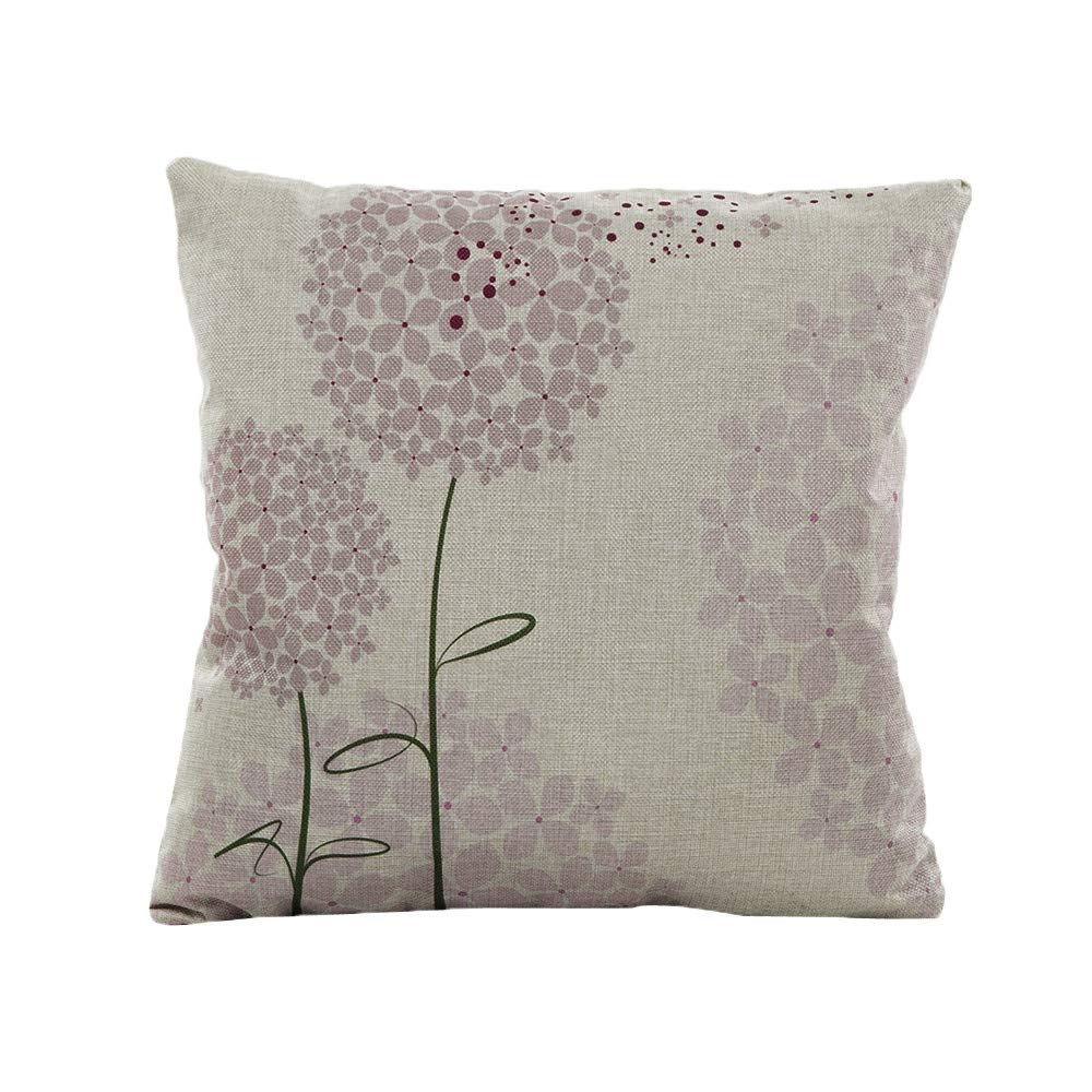 Weiliru Pillowcases 100% Washed Cotton, Vintage Style, Breathable, Flower Printed Picture,Standard Size,43cm×43cm