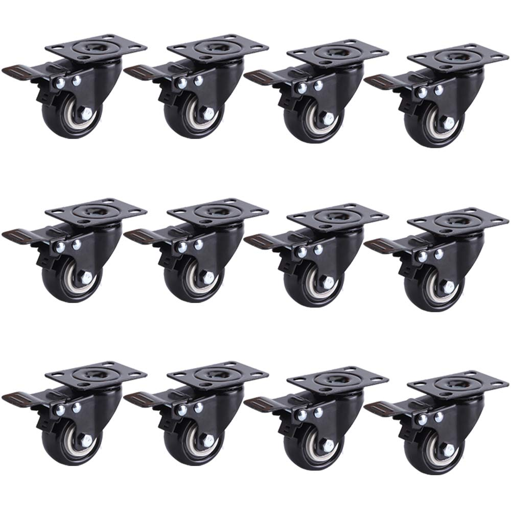VESLA HOME 2'' Heavy Duty Caster Wheels Polyurethane PU Swivel Casters with 360 Degree Top Plate 220lb Total Capacity, Black of 12 Pack