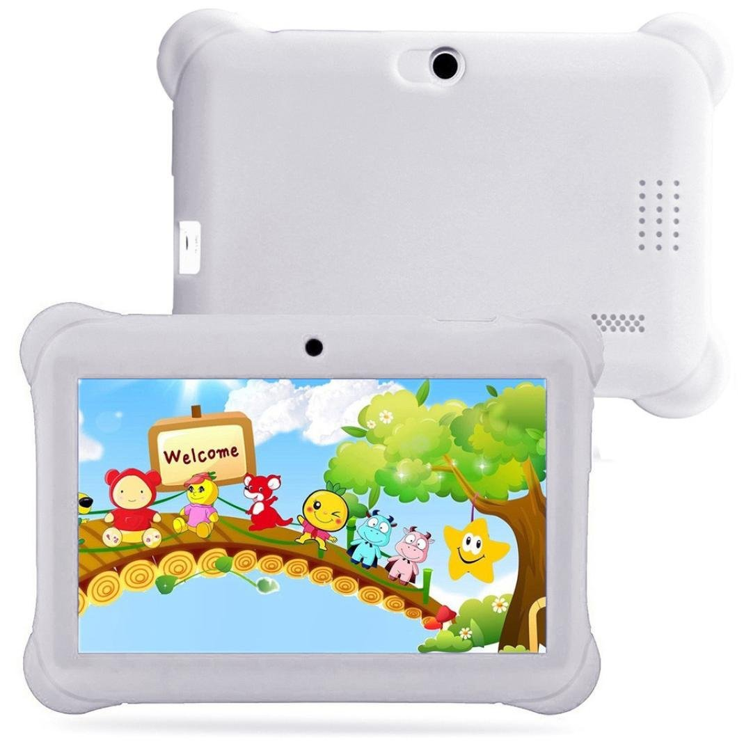 Kshion Kids Tablet PC 7'' Android 4.4 Case Bundle Bluetooth 8GB ROM Dual Camera 1.2Ghz Wi-Fi 1080 x 600 Resolution Bonus Items (White)