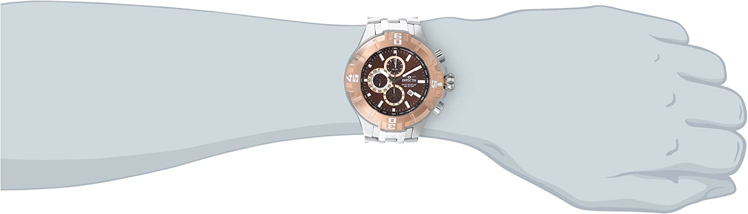Invicta Men s 12357 Pro Diver Chronograph Brown Dial Stainless Steel Watch