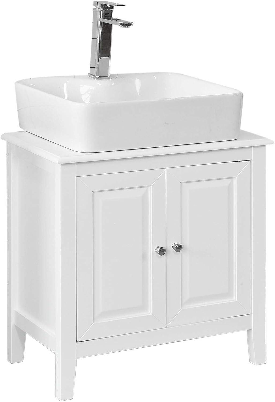 Bath Vida in Legno Armadietto da Bagno a Doppia Anta con Montaggio a Parete Colore: Bianco