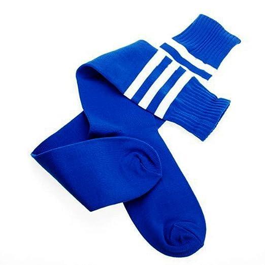 Fliyeong 1 Paar M/ädchen Hohe Knie Gestreiften Socken Lange Fu/ßball Socken Elastischer Komfort Fu/ßball Socken Sport Liefert f/ür Dance Cheerleading Uniform Blau