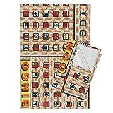 Roostery Highways Tea Towels Road Trip Bingo! by Thirdhalfstudios Set of 2 Linen Cotton Tea Towels