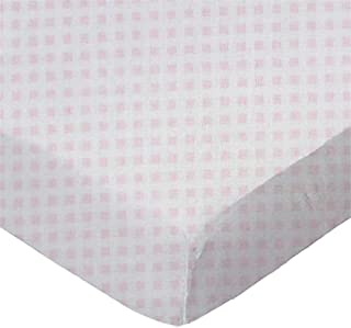 product image for SheetWorld Fitted Pack N Play Sheet - Pink Gingham Jersey Knit - Made In USA