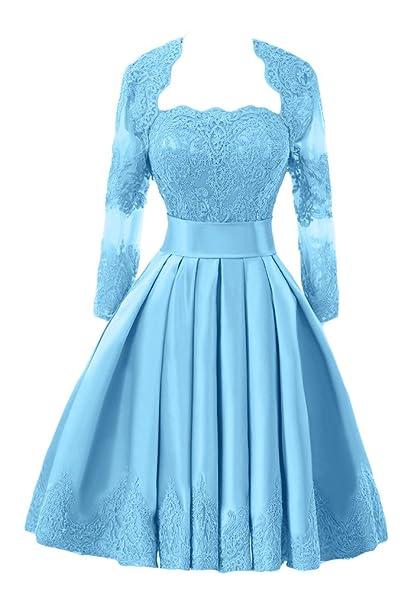 sunvary vaina satinado de madre de la novia novio vestidos de manga larga para hombre Azul