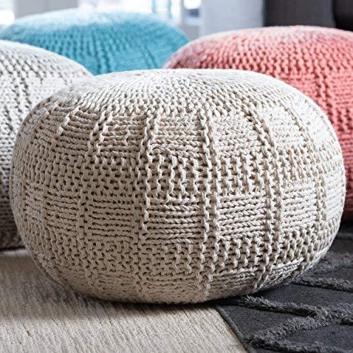 - GDFStudio 299698 Valentine Hand Knit Fabric Pouf (Ivory),