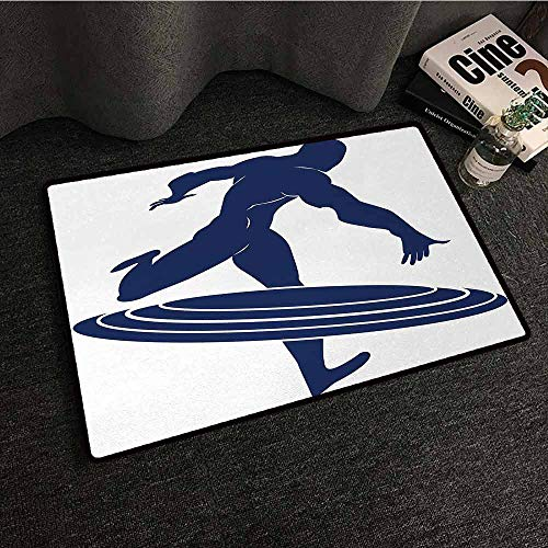 DuckBaby Pet Door mat Superhero Muscle Man Hero Throws Frisbee Weapon Muscular Silhouette Disc Sports Theme Easy to Clean W35 xL59