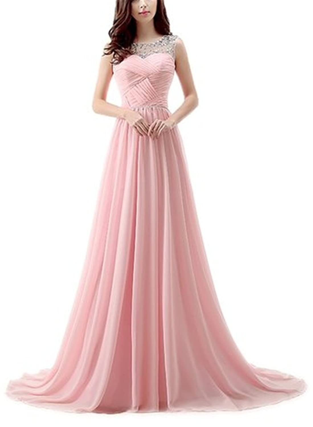 HelloGirls Sheer Crystal Sequins Straps Ruched Backless A-line Chiffon Prom Dress