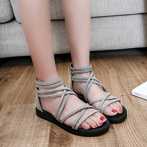 La Primavera E L'Estate Marea, Testa Rotonda Foot Ring, Le Donne Sono Sandali, Le Scarpe Basse,Grigio Chiaro,Eu40,Cn41