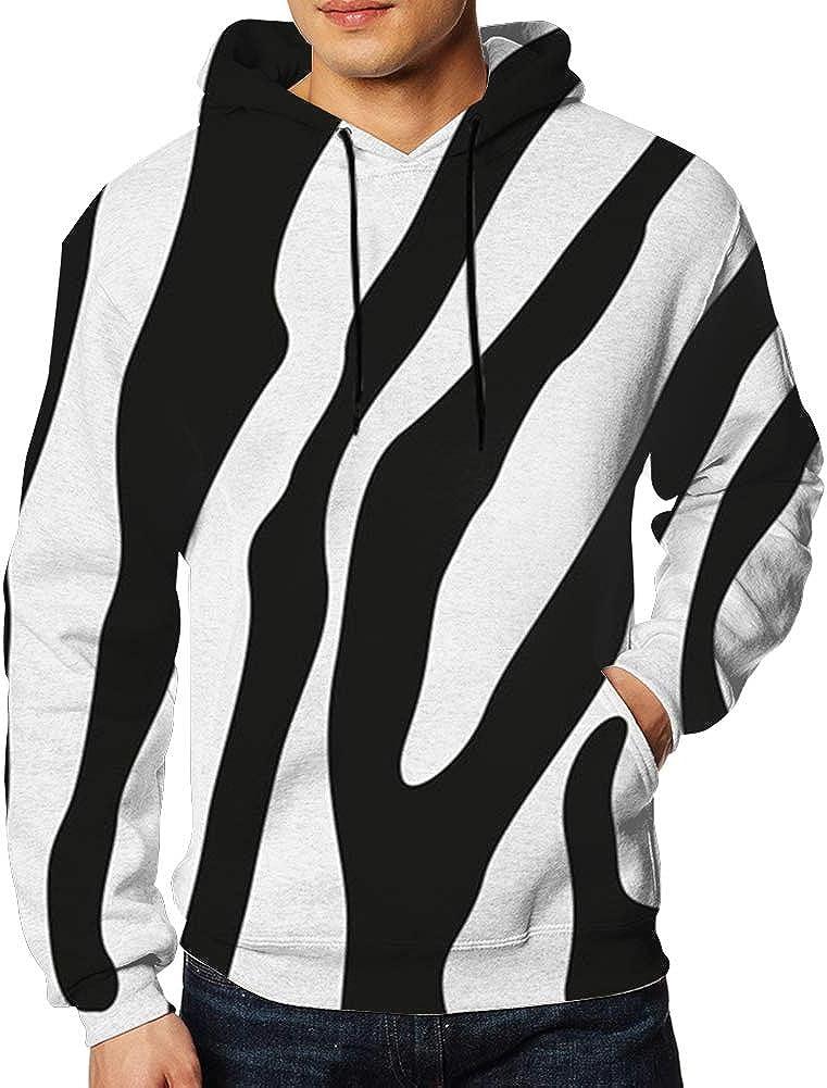TCLAND Zebra Stripes Print Mens Long Sleeves Hoodie Sweatshirt