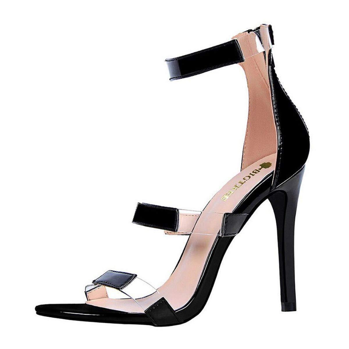 Meiliwanju Women's Triple Straps Stiletto Sandals Open Toe Ankle Strap Dress Party Stiletto High Heel Sandals Bridal Party Shoes (Black, 6.5) by Meiliwanju