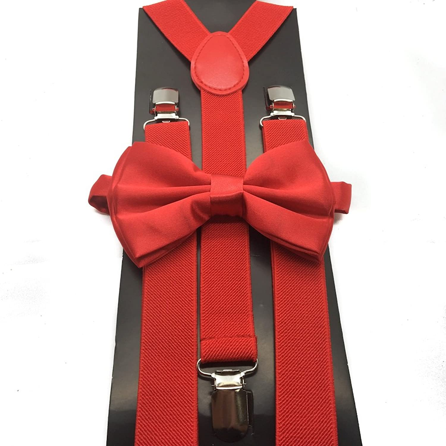 4everStore Unisex Bow Tie & Suspender Sets, Red