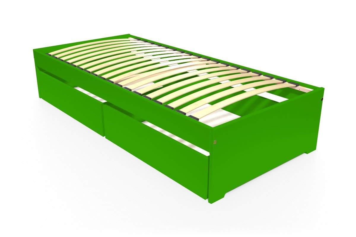 ABC MEUBLES - Einzelbett Malo 90x190 cm + Schubladen - TOPMALO90T - Grün, 90x190